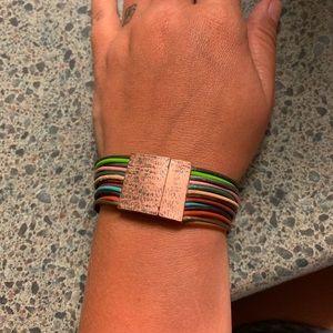 Rainbow Leather Cord Bracelet